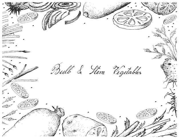 흰색 배경에 전구 및 줄기 야채 프레임