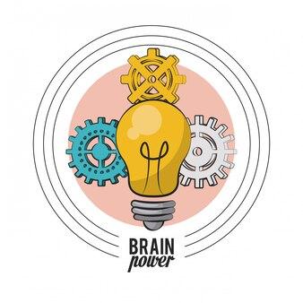 Bulb big idea with gears vector illustration graphic design