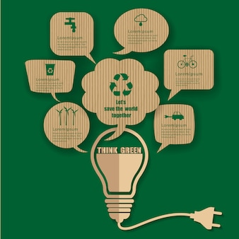 Bulb bubble talk with think green renewable energy infographic.