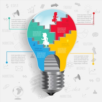 Bulb business walk to success infographic.
