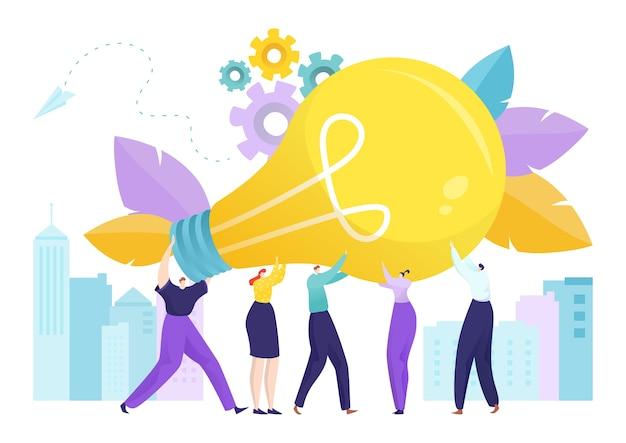 Лампа, мультфильм огромная креативная идея в деловых людях, персонаж, рука, llustration