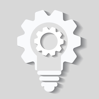 Bulb cogs vector icon, light bulb