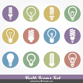 Bulb colorful icons collection