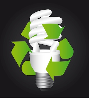 Bulb electric with recycle sign over black background vector
