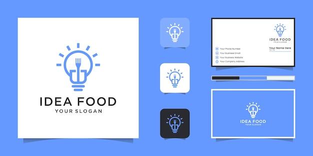 電球とフォークのクリエイティブな朝食レストランのロゴと名刺のインスピレーション