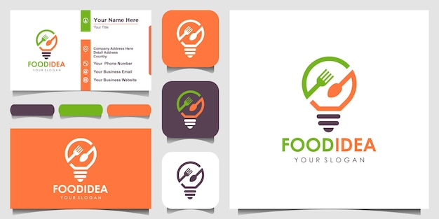 Bulb & fork creative breakfast restaurant logo and business card  inspiration