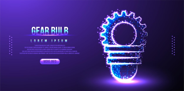 Bulb and gear, business strategy low poly