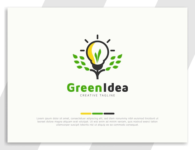 Bulb and green leaves illustration logo design