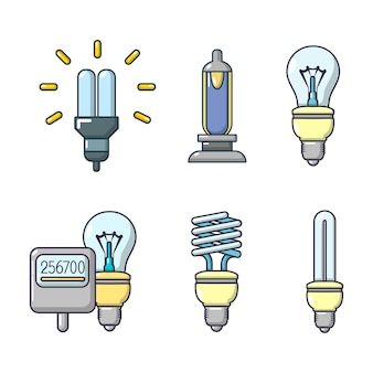 Bulb icon set. cartoon set of bulb vector icons set isolated