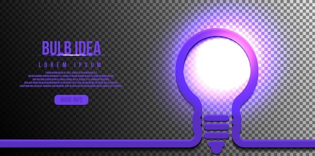 透明な背景に分離された光の輝く輝きを持つ電球、アイデアの概念
