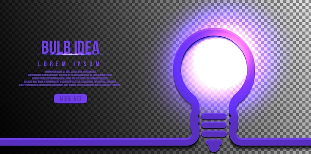 Lampadina, concetto di idea, con brillantezza luminosa isolata su sfondo trasparente