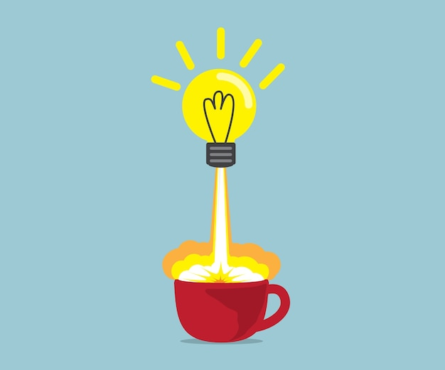 Bulb idea launch up from red coffee cup vector illustration