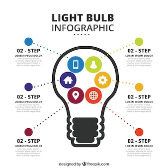 Bulb infographic template with icons in flat design