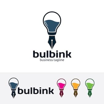 Bulb ink vector logo template