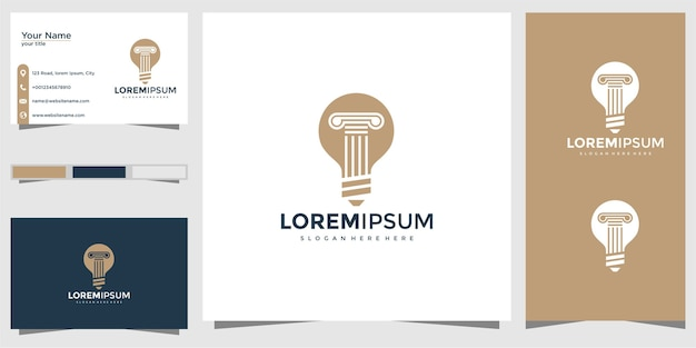 電球ランプと柱のロゴと名刺のデザイン。弁護士、正義、法律、創造的なロゴ