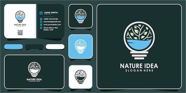 Bulb lamp nature think logo and business card design vector. light bulb tree logo with line art style and business card design template.