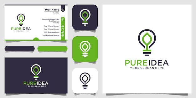 Bulb lamp nature think logo and business card design vector.