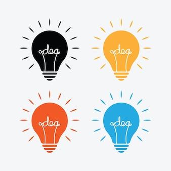 밝은 회색 배경에 다른 색상으로 내부에 아이디어 텍스트가 있는 전구 램프.