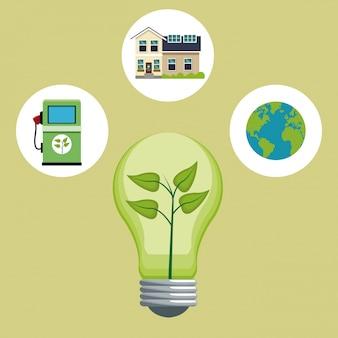 전구 나뭇잎 생태 에너지 아이콘
