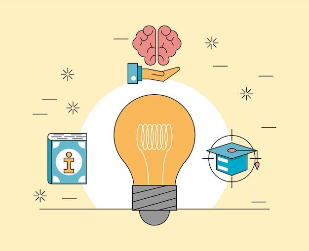 Bulb and life skills icons