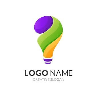 電球のロゴデザイン、グラデーションの鮮やかな色のモダンなロゴスタイル