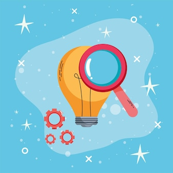 Bulb and magnifying glass learning