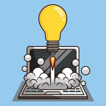 ノートパソコンのベクトルデザインイラストで起動する電球ロケット