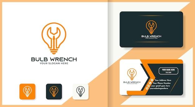 Лампочка отвертка гаечный ключ сочетание логотипа и дизайна визитной карточки