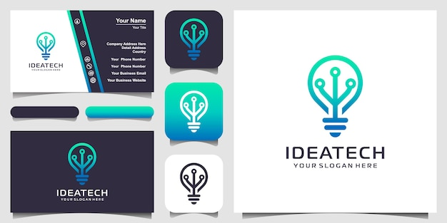 Bulb tech on circuit logo design and business card design