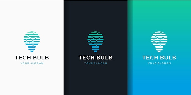 Bulb technology, electric light technology icon and business card design