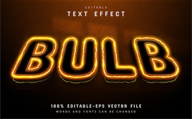 Bulb text effect neon style