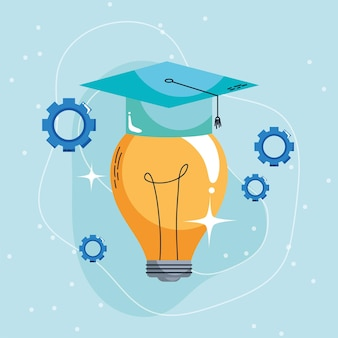 Bulb with graduation hat learning concept