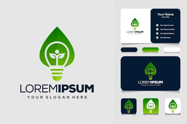 Bulb with leaves  human logo design template and business card