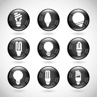 Дизайн лампочек на сером фоне векторные иллюстрации