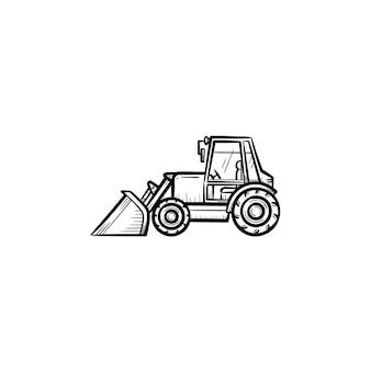 움직이는 백호 손으로 그린 개요 낙서 아이콘이 있는 불도저. 인쇄, 웹, 모바일 흰색 배경에 고립 된 불도저 벡터 스케치 그림. 건설 산업 및 기계 개념입니다.