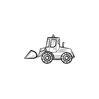 움직이는 백호 손으로 그린 개요 낙서 아이콘이 있는 불도저. 인쇄, 웹, 흰색 배경에 고립 된 모바일 굴 삭 기 벡터 스케치 그림. 건설 산업 및 기계 개념입니다.