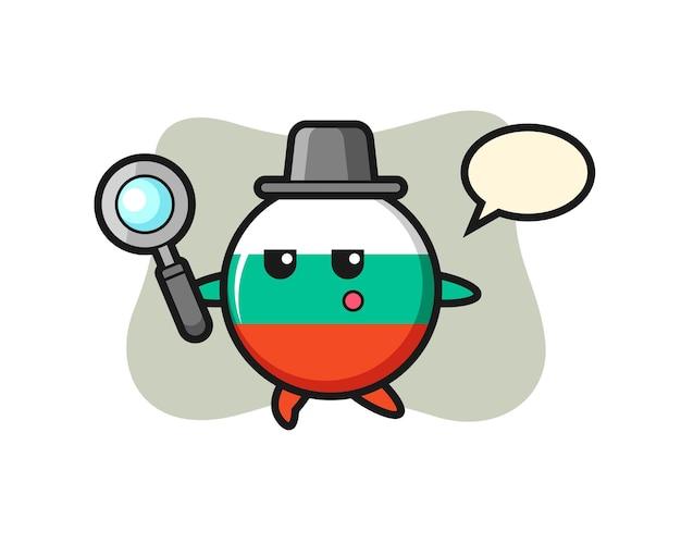 Bulgaria flag badge cartoon character searching with a magnifying glass , cute style design for t shirt, sticker, logo element