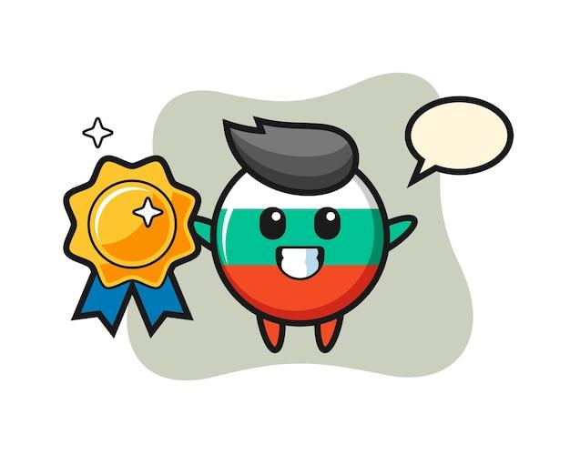 Bulgaria flag badge mascot illustration holding a golden badge , cute style design for t shirt, sticker, logo element