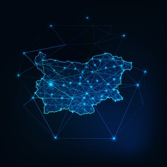 Bulgaria map glowing silhouette outline made of stars lines dots triangles