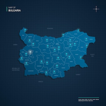 Bulgaria map illustration with blue neon lightpoints - triangle on dark blue gradient. administrative divisions, cities, borders, capital.