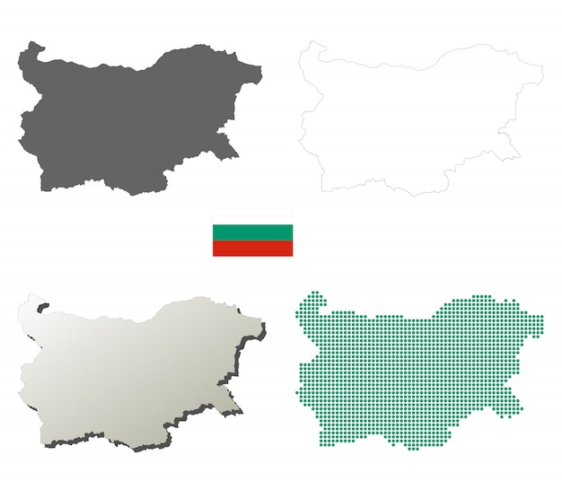 Bulgaria vector outline map set