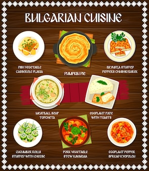 Bulgarian cuisine food of vegetable, meat and fish dishes on wood