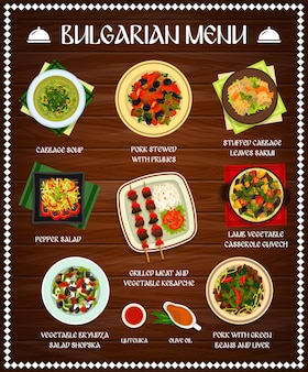 Bulgarian cuisine menu template cabbage soup, pork stewed with prunes, pepper salad. grilled meat and vegetable kebapche, ljutenica, olive oil, pork with green beans and liver bulgaria meals