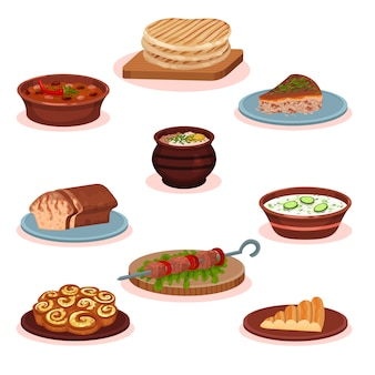 불가리아 요리 국가 음식 요리 세트, 흰색 배경에 전통적인 건강 맛있는 음식 그림