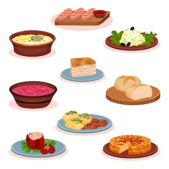 Набор блюд национальной кухни болгарской кухни, традиционные здоровые блюда иллюстрация на белом фоне