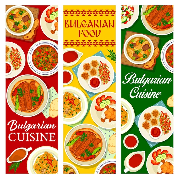 Bulgarian food cuisine banners, dishes menu and bulgaria traditional meals