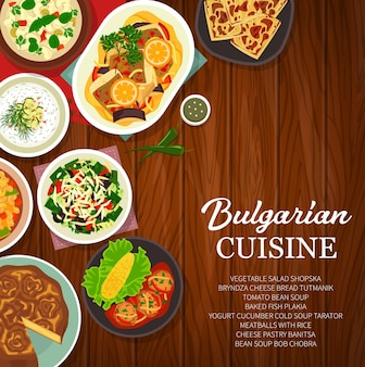 Bulgarian food dishes, restaurant menu cover page