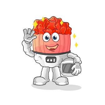 Bulgogi astronaut waving character cartoon mascot