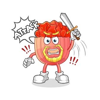 ブルゴギの騎士が剣のキャラクターの漫画のマスコットで攻撃する
