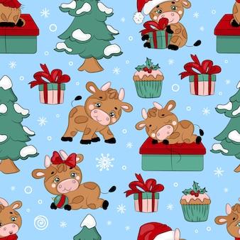 雄牛とクリスマスツリー新年漫画の休日手描きのシームレスなパターン